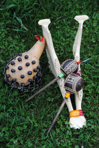 Rattles made from gourds, seeds, feathers and a donkey's jawbone