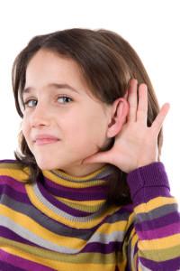 Adorable girl hearing