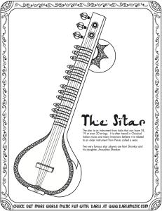 sitar coloring page