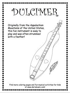dulcimer black + white coloring page