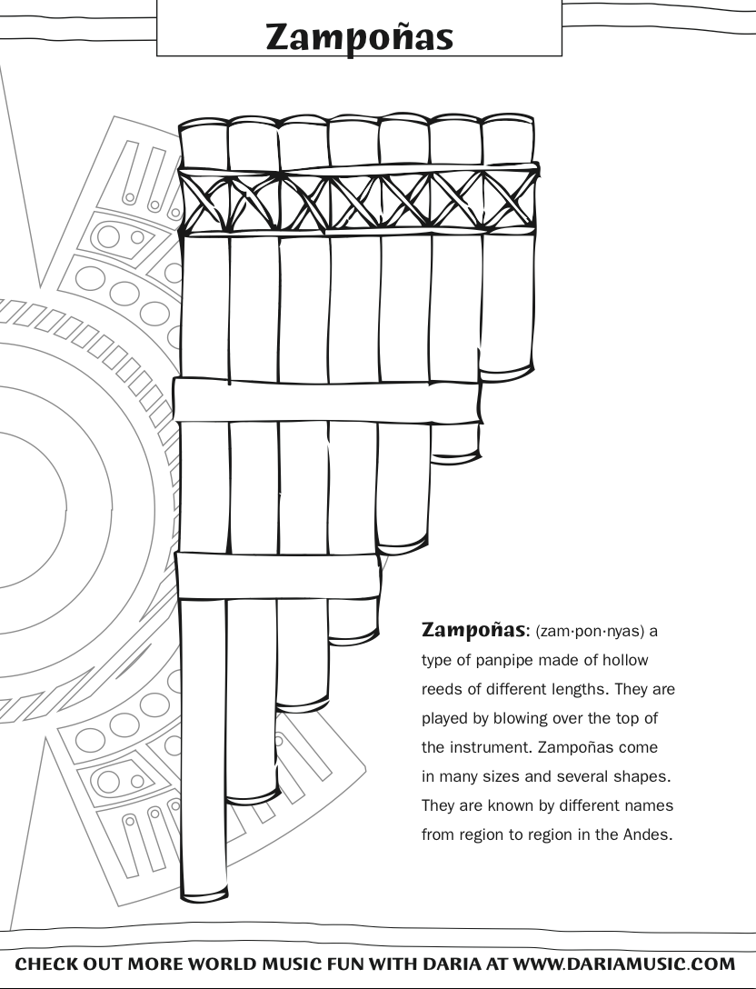 Free coloring pages instruments - Color The Instruments From Hispanic Heritage