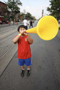 young boy and vuvuzela