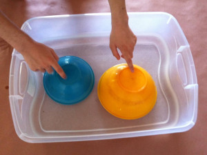 plastic water drum playing