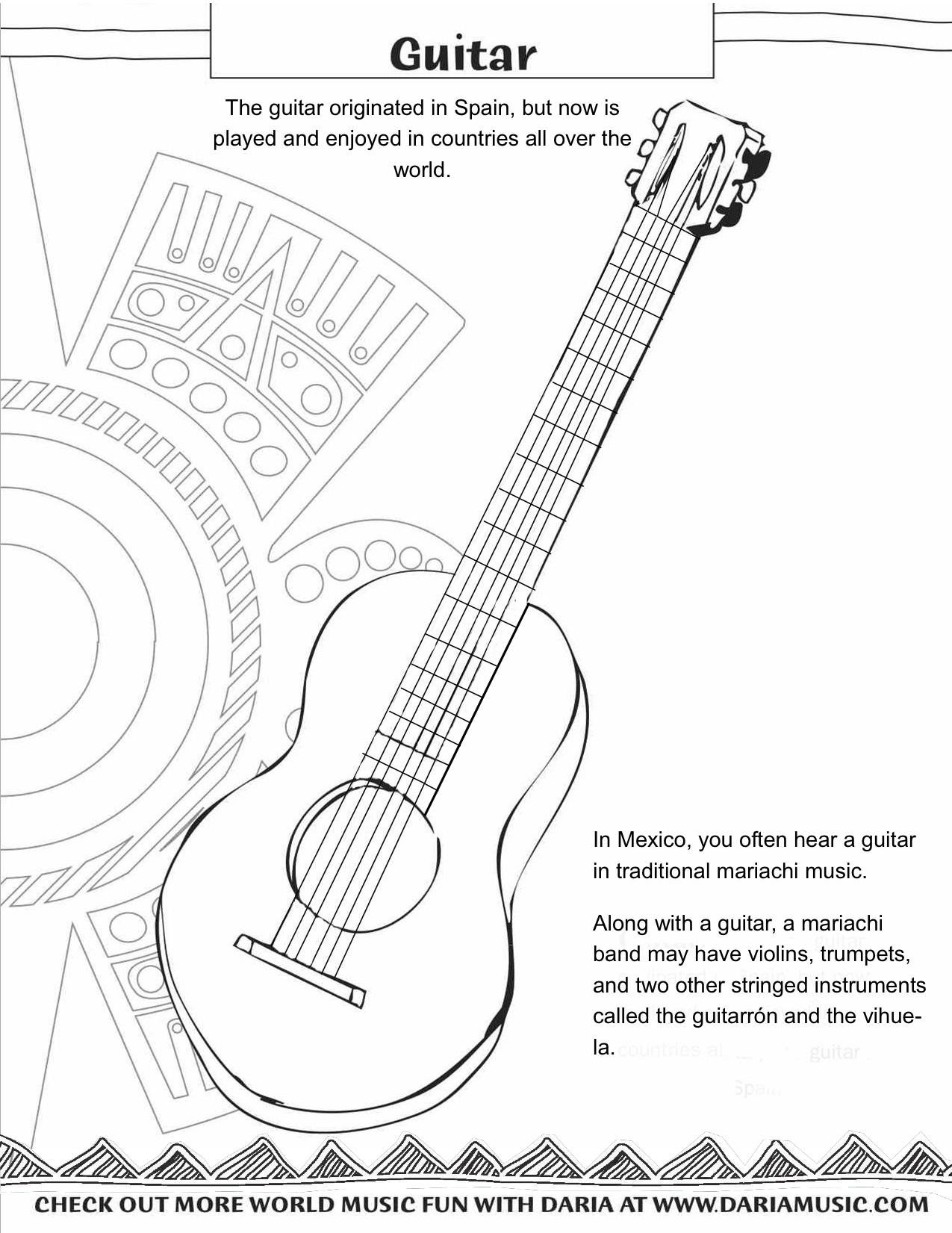 Mariachi Guitar Coloring Page